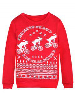 Merry Christmas Fawn Print Sweatshirt - Red Xl