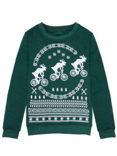 Merry Christmas Fawn Print Sweatshirt - Green S