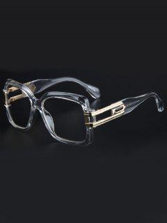 Hollow Alloy Quadrate Frame Sunglasses - Transparent