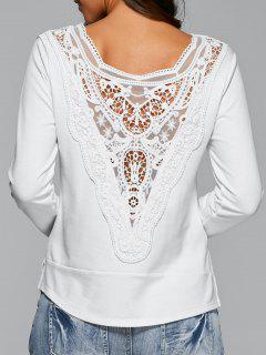 T-shirt Blanc Aux Manches Longues De Lace - Blanc S