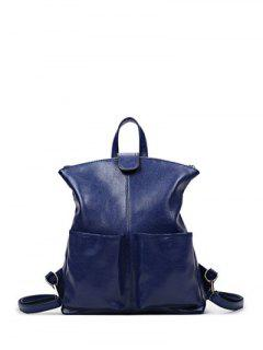 Double Pocket Magnetic Closure PU Leather Backpack - Deep Blue