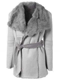 Rabbit Fur Collar Fleece Coat - Gray