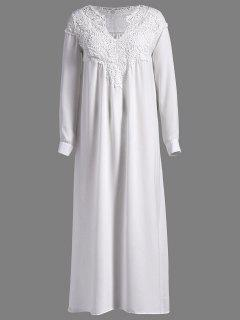 Crochet Yoke Maxi Flowing Dress - White S