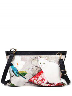 Cat Printed Colour Block Rivets Crossbody Bag - Off-white