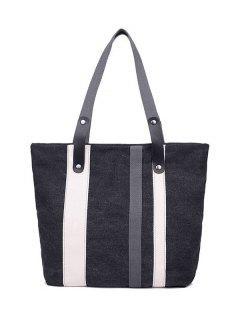 Striped Pattern Colour Spliced Metal Shoulder Bag - Black