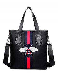 Bee Pattern Embroidery Colour Block Shoulder Bag - Black