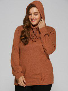 Slouchy Long Pullover Hoodie - Tea-colored M
