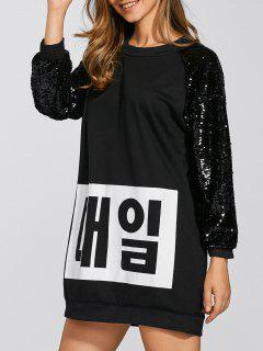 Sequins Graphic Long Sweatshirt - Black M