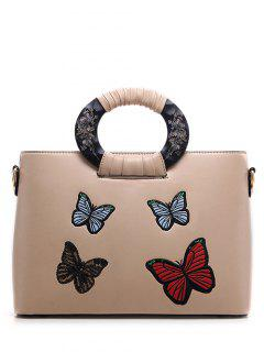 Butterfly Pattern Embroidery PU Leather Tote Bag - Apricot