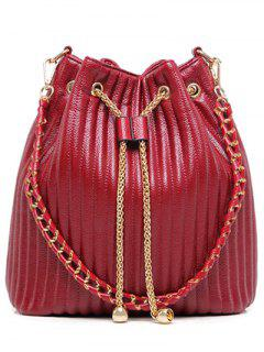 Drawstring Magnetic Closure Chain Shoulder Bag - Red