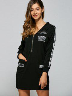 Hoodie Dress With Pockets - Black