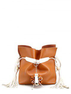 Tassels Colour Spliced Magnetic Clousre Crossbody Bag - Light Brown