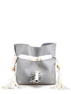 Tassels Colour Spliced Magnetic Clousre Crossbody Bag - Light Gray