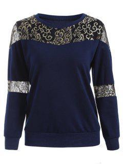 Lace Panel Sweatshirt - Deep Blue M