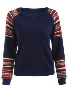 Tribal Print Sleeve Sweatshirt - Deep Blue L