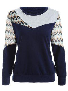 See-Through Panelled Sweatshirt - Purplish Blue M
