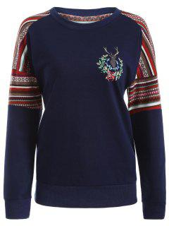 Tribal Print Pullover Sweatshirt - Deep Blue Xl