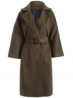 Wool Blend Winter Wrap Coat - Army Green Xs
