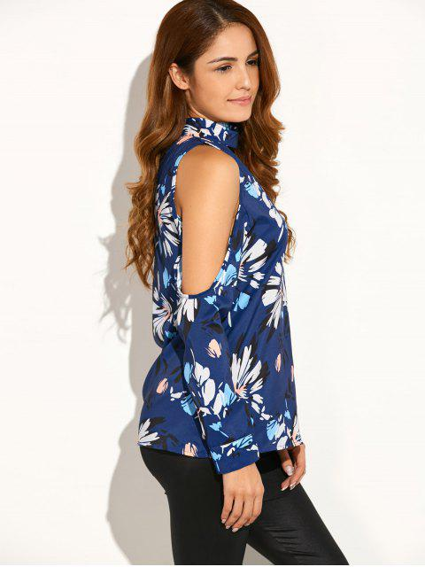 best Cold Shoulder High Collar Blouse - BLUE S Mobile