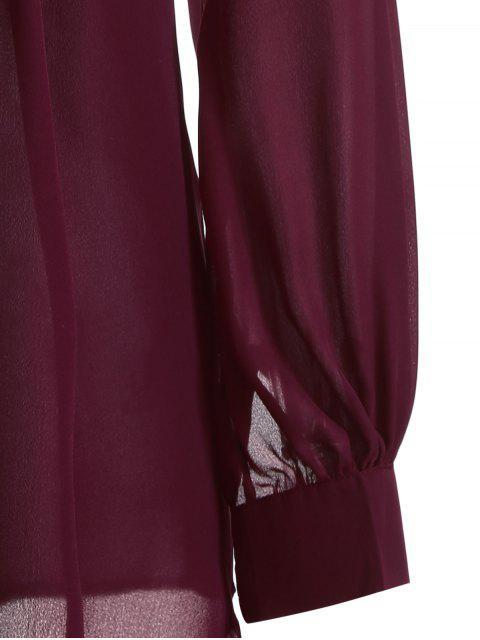 Chemisier a manches longues avec motif en dentelle - Rouge vineux  S Mobile