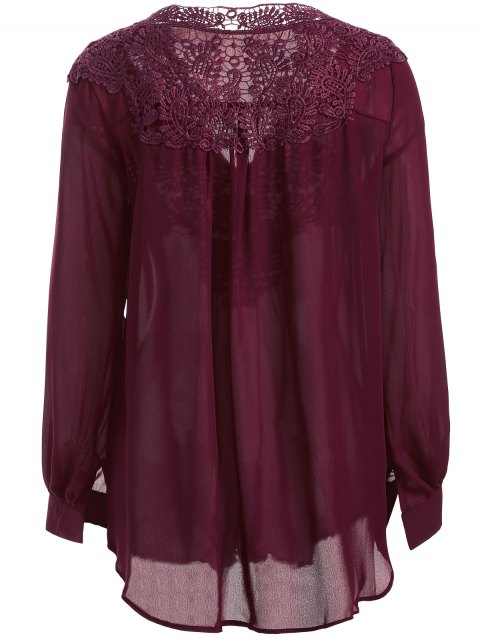 womens Crochet Floral Long Sleeve Blouse - WINE RED S Mobile
