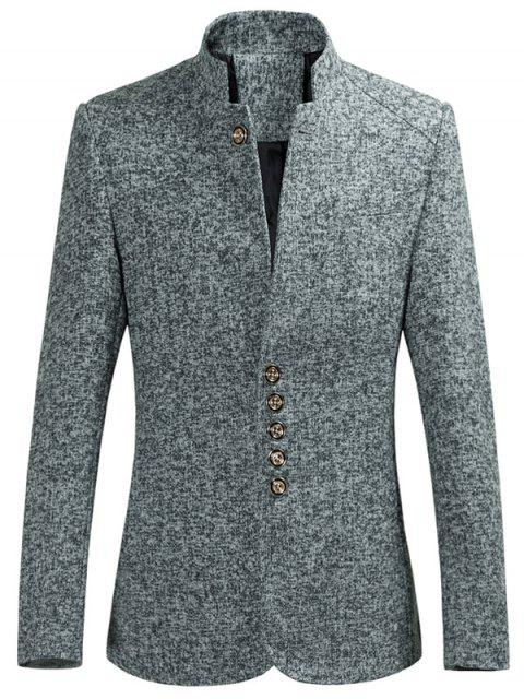 womens Multi Button Stand Collar Heather Blazer - GRAY XL Mobile