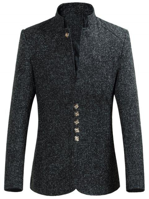 outfit Multi Button Stand Collar Heather Blazer - BLACK 2XL Mobile