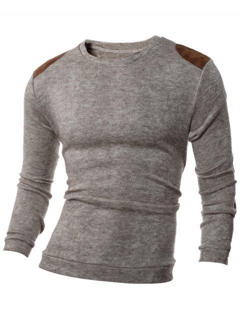 Remiendo de hombro del diseño de cuello redondo acanalado suéter - Beis XL Mobile