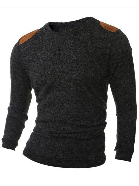 women Shoulder Patch Design Round Neck Ribbed Sweater - SMOKY GRAY M Mobile