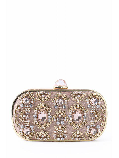ladies Faux Jewel Metal Trimmed Evening Bag - CHAMPAGNE  Mobile