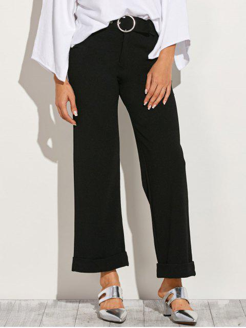 womens Turn Up Wide Leg Pants - BLACK L Mobile
