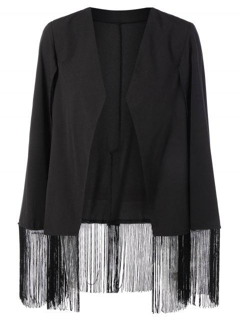 womens Fringe Asymmetric Cape Blazer - BLACK L Mobile