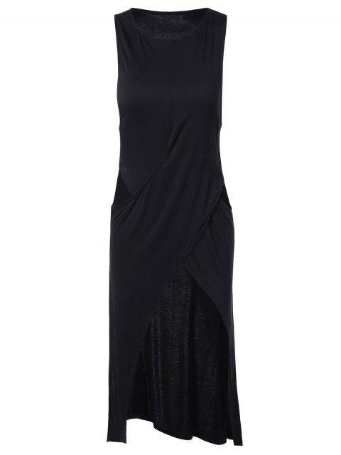 Haute Slit Cut Out Aménagée Midi Dress - Noir L Mobile