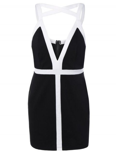 hot Plunging Neck Bodycon Strappy Dress - BLACK L Mobile