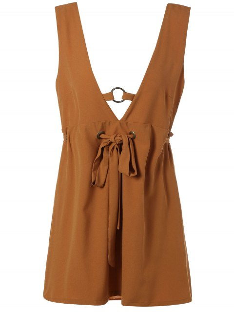ladies Self Tie Backless Plunging Neck Mini Dress - LIGHT BROWN L Mobile