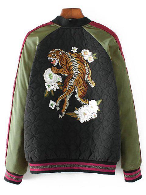 Tiger brodé Quilted Souvenir Jacket - Noir S Mobile