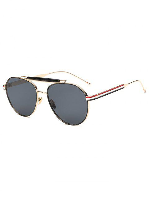 latest Crossbar Striped Leg Pilot Sunglasses - GOLDEN  Mobile