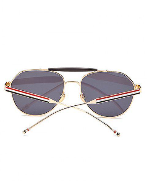 fashion Crossbar Striped Leg Pilot Mirror Sunglasses - GREY BLUE  Mobile