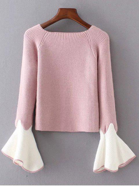 online Bell Sleeve Contrasting Jumper - PINK ONE SIZE Mobile