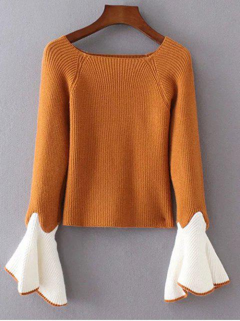 outfit Bell Sleeve Contrasting Jumper - YELLOW ONE SIZE Mobile