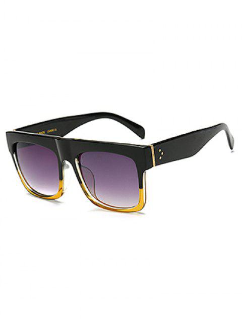 women Color Block Frame Rectangle Sunglasses - YELLOW  Mobile