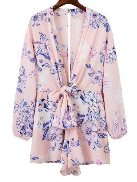 trendy Back Cut Out Plunging Neck Floral Romper - PINK M Mobile