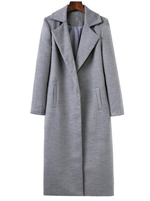 Manteau cocon long col à revers - Gris S Mobile