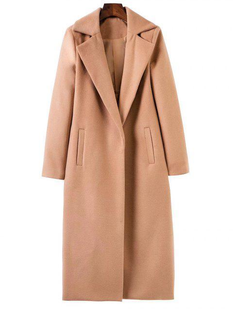sale Longline Lapel Collar Cocoon Coat - KHAKI M Mobile