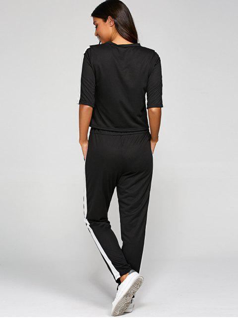 affordable 1/2 Sleeve T Shirt + Pants - BLACK L Mobile