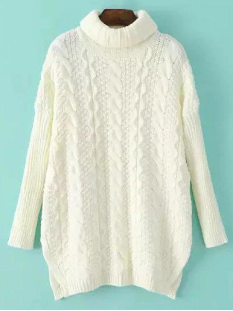 Pull tricot torsadé embelli fente latérale à col montant - Blanc Cassé TAILLE MOYENNE Mobile