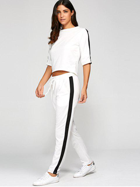 women's 1/2 Sleeve T Shirt + Pants - WHITE L Mobile