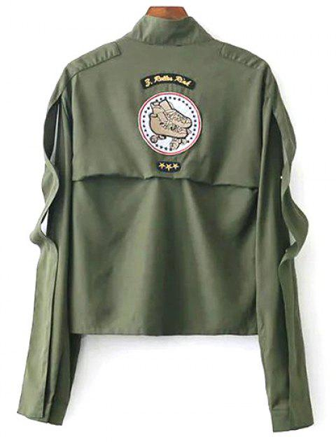 affordable Patchwork Stand Neck Cropped Jacket - ARMY GREEN S Mobile