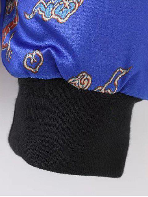 Veste matelassée imprimée dragon et phénix avec zip - Bleu L Mobile