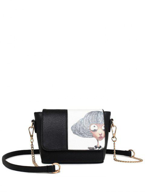 outfit Characters Printed Chain Colour Spliced Crossbody Bag - BLACK  Mobile